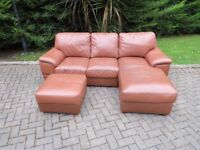 Tan Leather Sofa With Extended Foot Rest & Pouffe