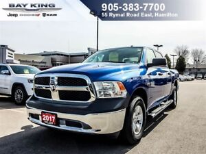 "2017 Ram 1500 SXT, CREW CAB, 4X4, 17"" ALUM. WHEELS, A/C, POWER W"