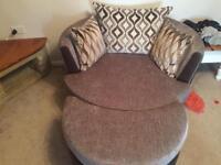 DFS cuddle chair w/half moon footstool