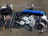 Weights set and other sports equipment (will set weights separately)
