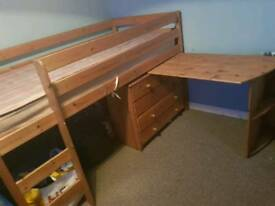 Cabin bed and mattress drawers desk