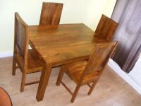 CAN DELIVER - ROSEWOOD SHEESHAM INDIAN DINING TABLE AND 4 CHAIRS IN GREAT CONDITION