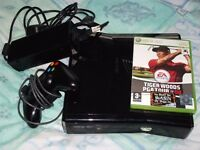 XBOX 360 SLIMLINE MODEL 1439 250gb CONTROLLER POWER SUPPLY & GAMES FULL WORKING ORDER with WIFI
