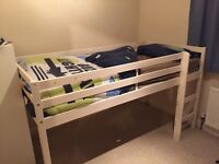 Cream wooden mid sleeper single bed with mattress