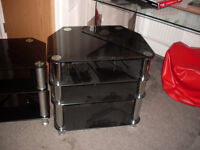 4 tier black glass hi fi/ home cinema stand