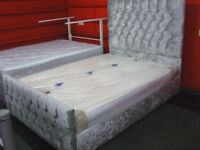 Crushed Velvet Silver Grey Double Bed Frame with Diamante Studding