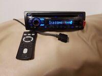 CAR HEAD UNIT SONY CD MP3 PLAYER WITH USB AUX IPOD LEAD AND RCA 4 x 52 WATT STEREO AMPLIFIER RADIO