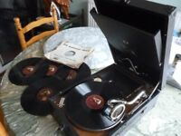 original his masters voice 1930s ,78 speed table top portable gramophone,perfect working condition