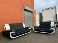 Black 3&2 Leather Sofas Delivery 🚚 BRAND NEW sofa suite couch furniture