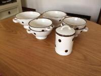 Set of 6 spotty bowls and canister
