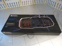 NEW Esports Sandberg Thunderstorm Gaming Keyboard UK, Blue, Red, Purple LED Metal Base