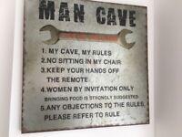 Man Cave metal wall art