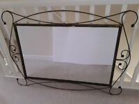 Large Beautiful Wrought Iron Mirror