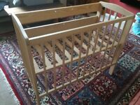 Space saving cot/bedside cot with mattress, very good condition