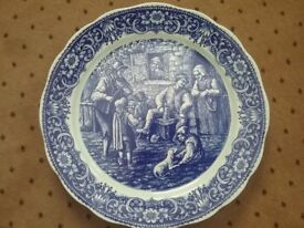 Boch Belgium vintage blue and white diplay plate showing tavern scene.
