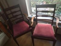 2x lovely shaped carver/bedroom/desk chairs