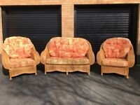 Wicker conservatory furniture, 2 seater and 2 chairs
