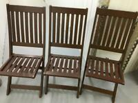 Set 3 wood garden chairs