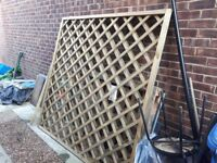Two lattice fence panels