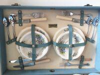1950's Brexton Vintage Picnic Set Hamper Basket China Plates Glamping Camper Van