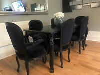 French black dining table set 6 chairs sold wood carved