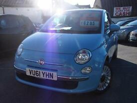 Fiat 500 1.2 Lounge 3dr [Start Stop] (blue) 2011