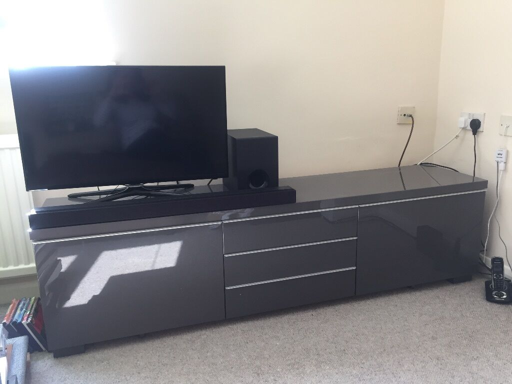 Ikea Tv Unit High Gloss Grey Besta Burs