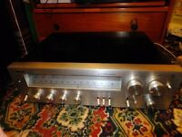 Hi fi separates, stereo amp, tuner radio and casette deck with speakers