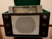 1950'S BESPOKE MADE E.M.G LONDON HAND MADE RECORD PLAYER RADIO WITH SEPERATE TALL WHARFEDALE SPEAKER