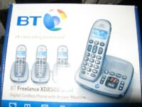 USED BT FREELANCE XD8500 CORDLESS PHONE WITH ANSWER MACHINE IN BOX 4 HAND SETS