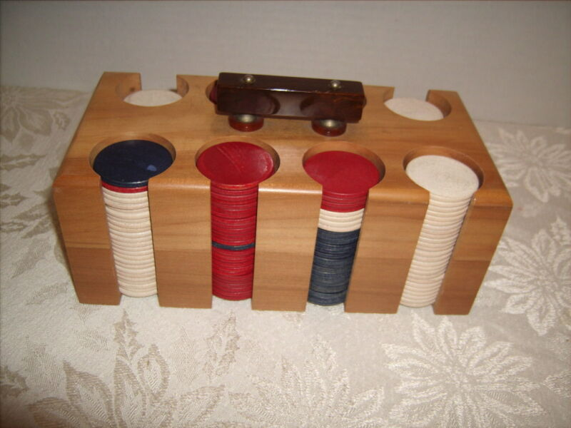 Vintage Pla-Wood Poker Chips with Wooden Carrier
