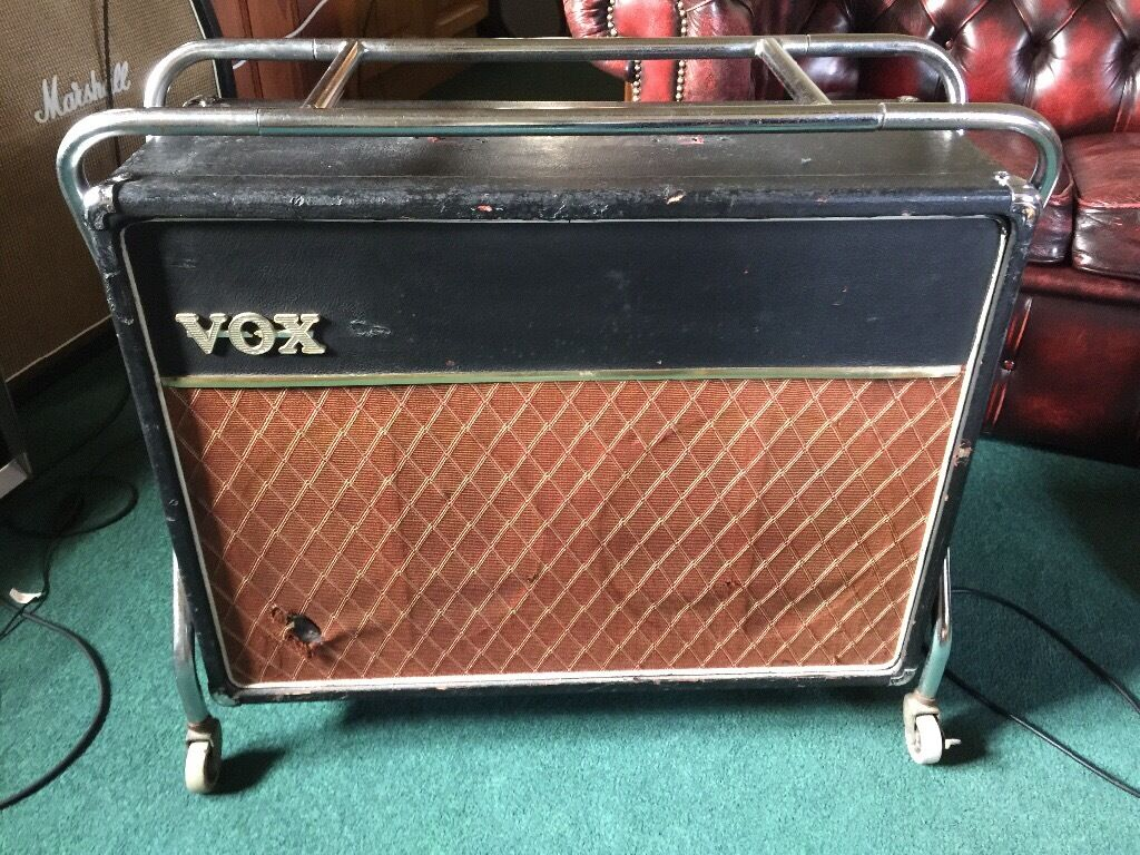 1960s Vox AC30 2x12 extension cabinet chrome stand and mint blue ...