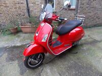 Piaggio Vespa GTS125, 2009, RED, ONLY 10000M, 2 OWNERS,HPI CLEAR, MOT, EXTRAS, ANY INSPECTION