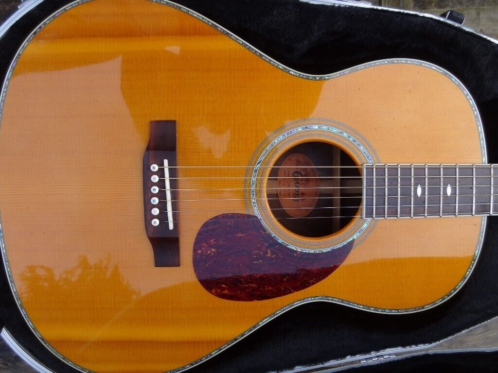 Martin style 12 fret parlour guitar solid sitka flamed spruce top slotted  torch headstock acoustic   in Perth, Perth and Kinross   Gumtree