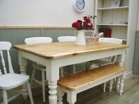 Stunning Reclaimed Pine Country Farmhouse 5ft Table 4 Chairs and Bench Set.