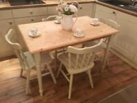 Lovely Solid Pine Dining Table and 4 Chairs