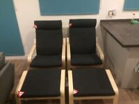 2 IKEA 'Poang' Armchairs and Footstools - AS NEW
