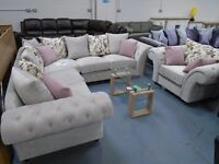 Brand New Silver Chesterfield Corner Sofa. Comes As 3+2 & Armchair Also. 2 to 3 Weeks For Delivery