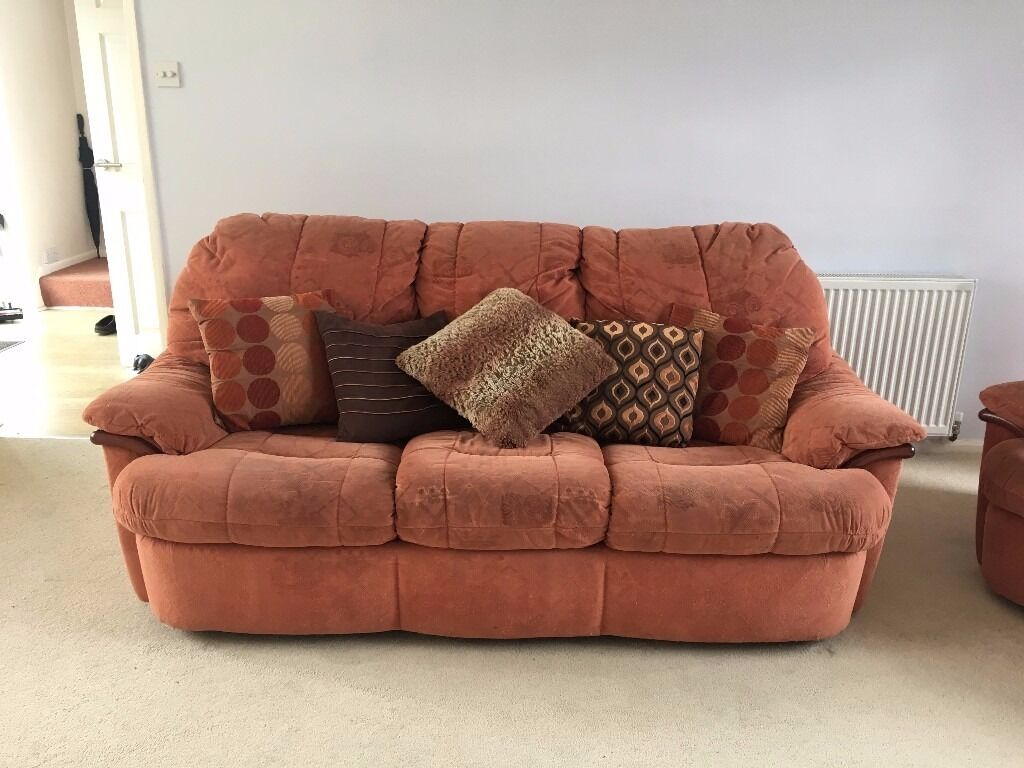 2 Terracotta Fabric Sofas With Cushions