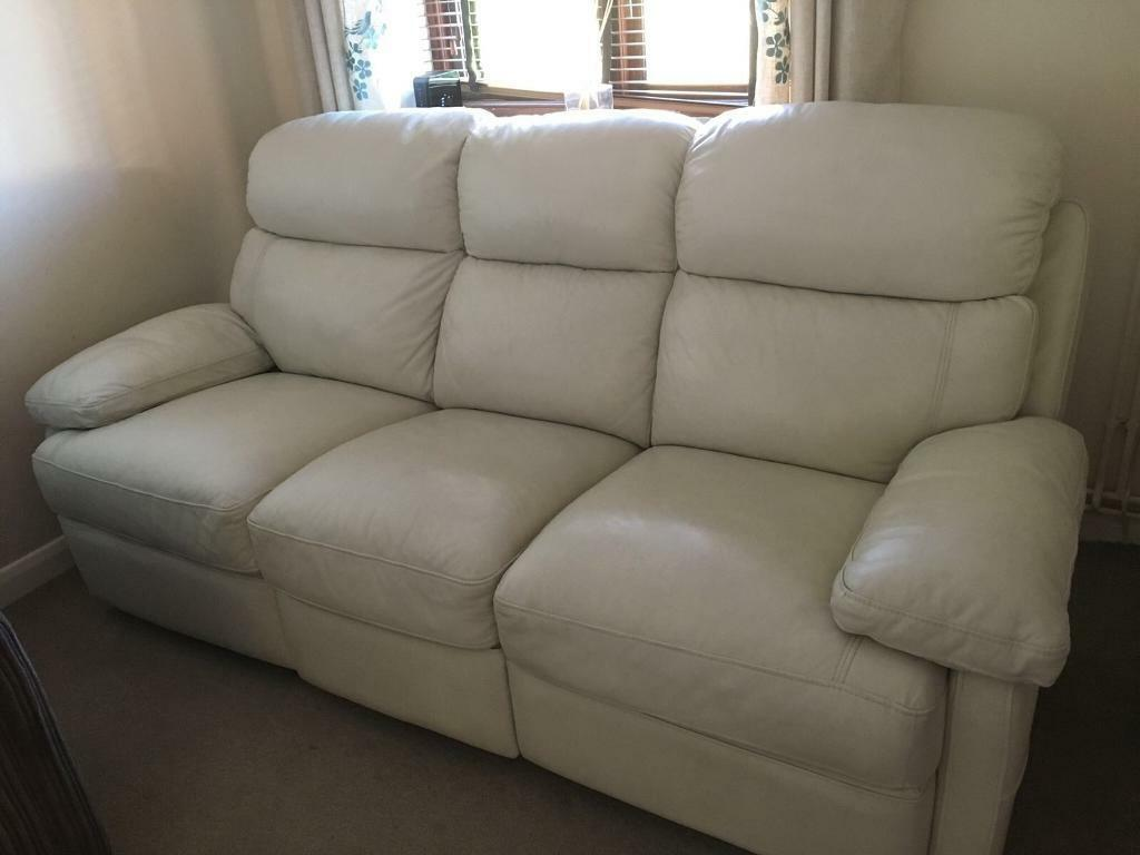 3 Seater Cream Leather Sofa With 2 Reclining Seats In