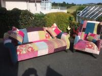 Patchwork Sofa and Chair