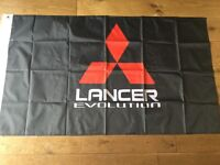 Mitsubishi Lancer evo 1 2 3 4 5 6 7 8 9 X workshop flag banner