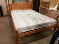 Pine double bed frame with brand new quilted mattress