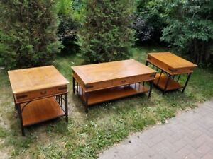Two rustic end tables and coffee table