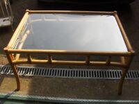 wicker glass top coffee table