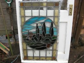 "old coloured glass leaded window panel 23""x38 3/4"" depicting church and trees e.t.c. £300 o.n.o."
