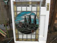 """old coloured glass leaded window panel 23""""x38 3/4"""" depicting church and trees e.t.c. £300 o.n.o."""