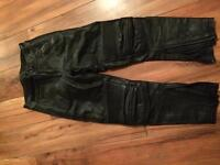 Black frank thomas leather biker trousers