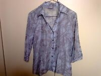 Sheer blue and grey blouse