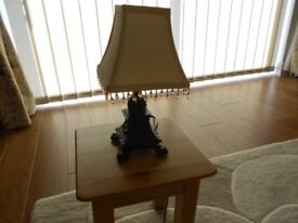 SMALL TABLE LAMP WITH CREAM BEADED SHADE, WITH PLUG AND BULB IMMACULATE CONDITION